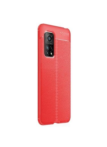 Microsonic Xiaomi Mi 10T Pro Kılıf Deri Dokulu Silikon Kırmızı